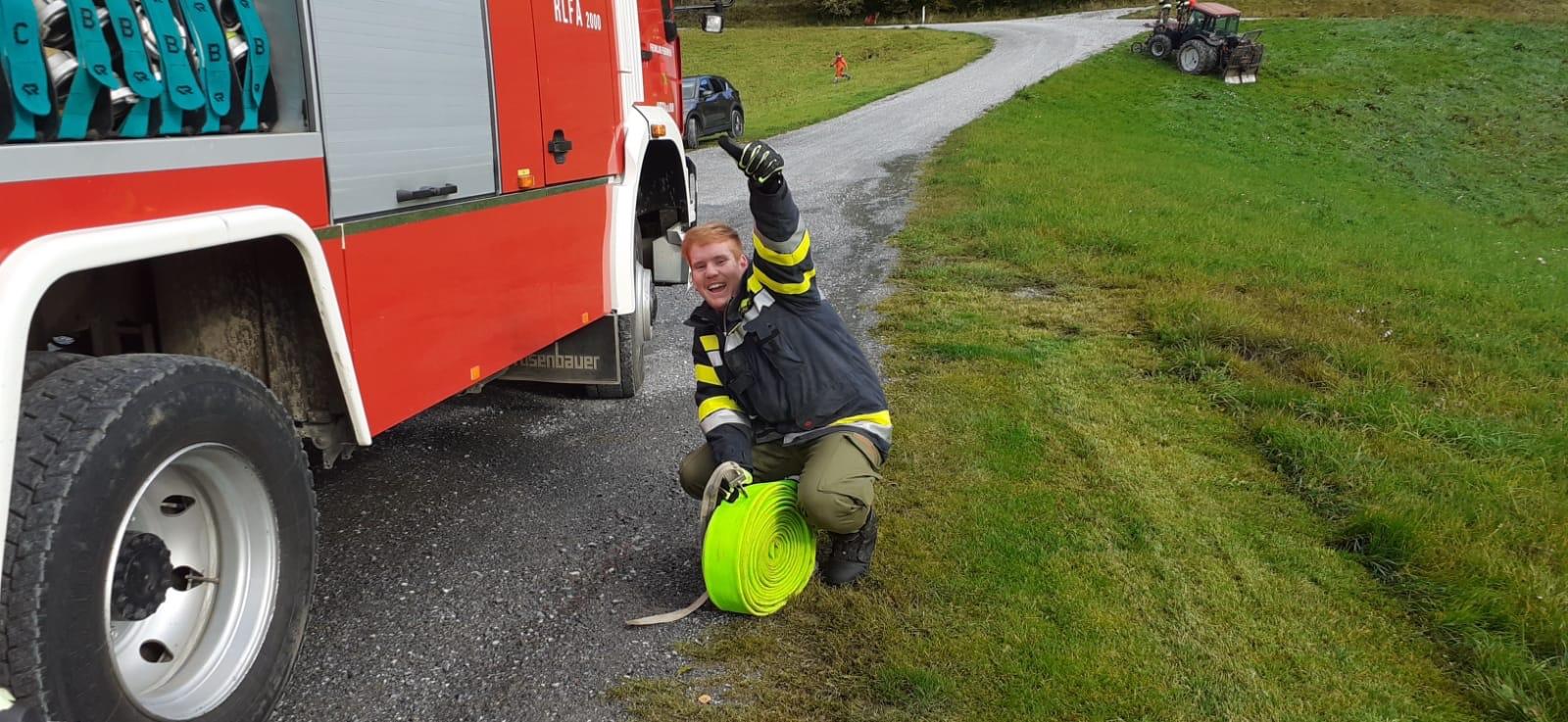 Feuerwehrübung bei Familie Kobald vlg. Golla